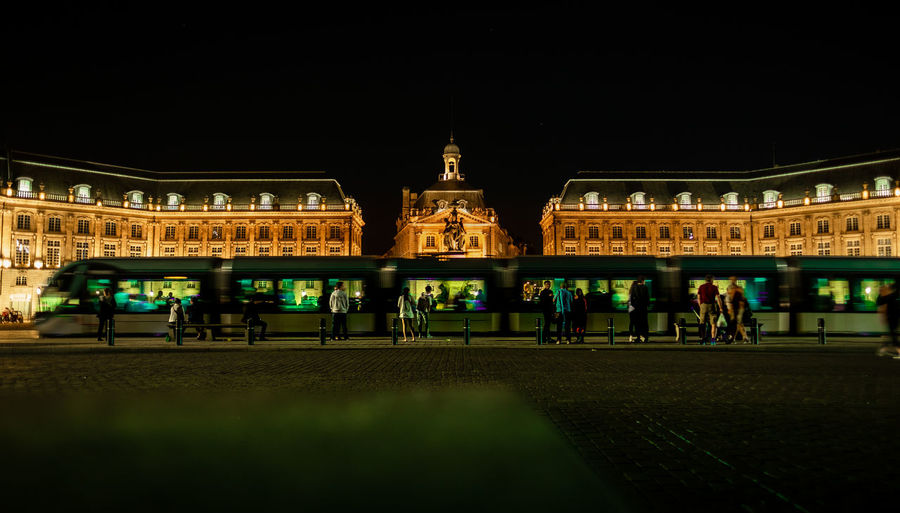 Place de la Bourse in Bordeaux, France. Architecture Bordeaux City France Gold Golden Historical Building Night Photography Nightphotography Public Transportation Transportation Travel Travel Photography Traveling Fujifilm Fujifilm_xseries Historic History Illuminated Night Old Buildings Street Street Photography Streetphotography Train
