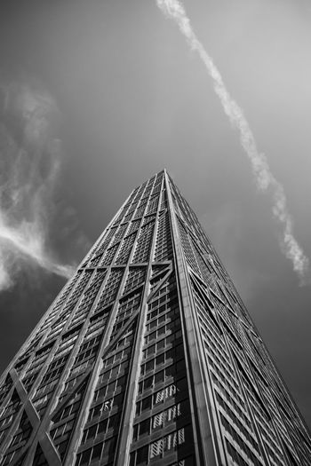 Architecture Building Building Exterior Built Structure Capital Cities  Chicago City Cloud - Sky Cloudy Day Glass - Material Hancock HancockTower Low Angle View Modern Office Building Outdoors Sky Skyscraper Tall Tall - High Tower Travel Destinations