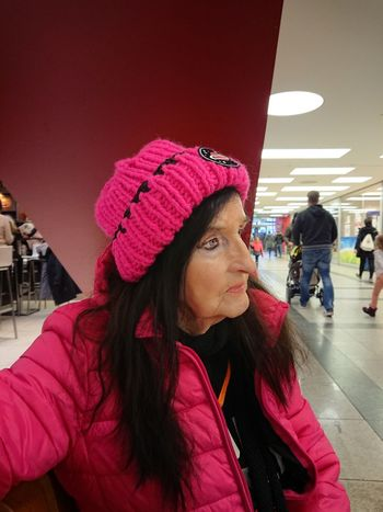 Granny Leila... Now 90 years old 😃😅 Portrait Of A Woman Portrait Warm Clothing City Portrait Young Women Women Red Close-up Knit Hat Cold Temperature This Is Aging