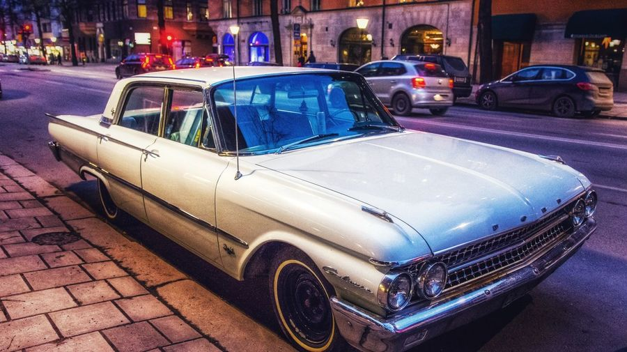 vintage. Street Streetphotography Cars Streetart Stockholm Ford Car Transportation Night Land Vehicle Mode Of Transport Street Taxi City Building Exterior No People Outdoors