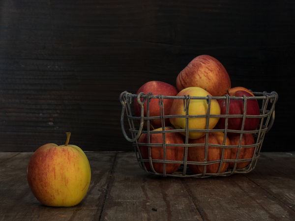 Apples Basket Cloth Dark Background Food Freshness Fruit Healthy Eating Moody Studio Shot Table Wood - Material