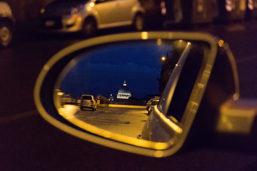 Great view from my rearview 😉 Architecture City Street Cityscapes Cupola Di San Pietro EyeEm Best Shots Showcase: January Mirror On The Road Rear View Selective Focus Taking Photos Learn & Shoot: After Dark My Favorite Photo Cities At Night