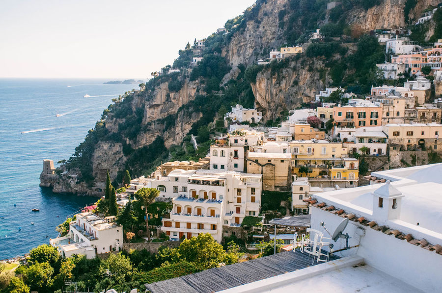 Blue Coastline Day Elevated View Hill Italy Mountain Nature Outdoors Positano Positano, Italy Scenics Sea Sky Town TOWNSCAPE Tranquility Vacation Water
