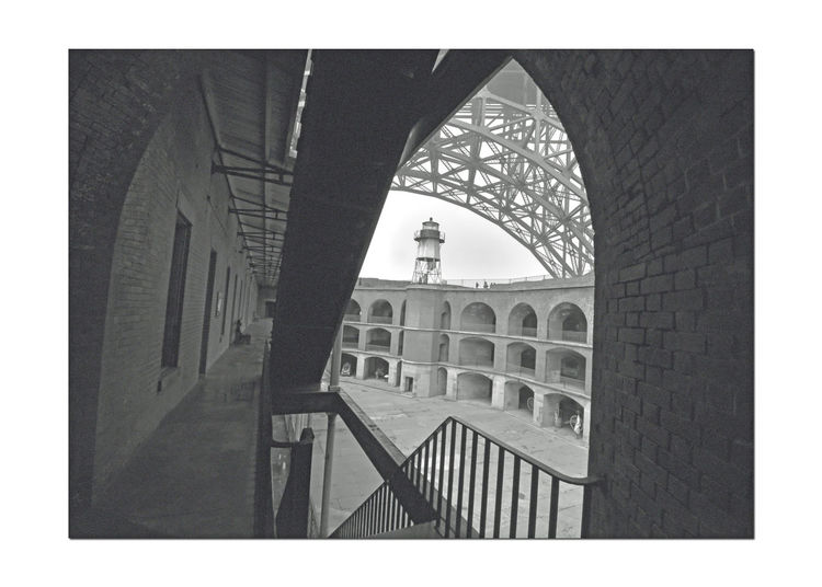 Fort Point 1 Seacoast Fortification Masonry The Castillo De San Joaquin Spain Built 1794 1st European Settlement In Bay Area Adobe U.S. Army Corps Of Enginneers Built 1861 Construction Began 1853 Pacific Coast Defense View Of Parade Ground,lighthouse, Bridge Arch Barracks,stairs Architecture Military Base Lighthouse Arches Architecture_collection Bnw_friday_eyeemchallenge Monochrome Monochrome Photograhy San Francisco Bay Black & White Black And White Photography Black And White Black And White Collection
