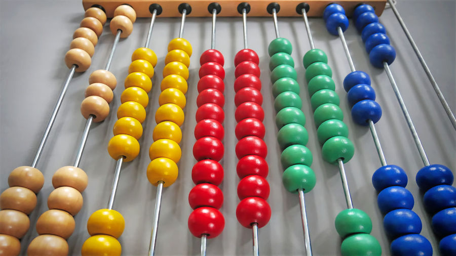 High angle view of colorful abacus