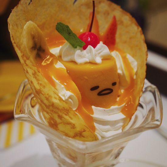 Gudetama pudding! Food Dessert Close-up Gudetama Japan Ice Cream