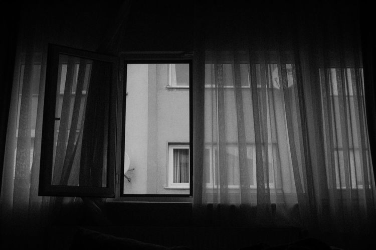 Window Curtain Architecture Indoors  Home Interior No People Built Structure Building Transparent Glass - Material Domestic Room Day House Dark Security Textile Safety Nature Wall Blackandwhite Black And White