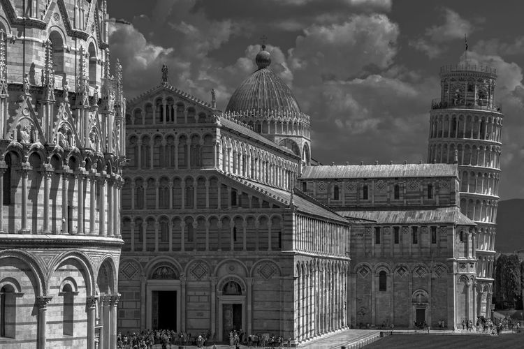 """view over """"Piazza dei Miracoli"""" in black and white Tuscany Architecture Belief Building Building Exterior Built Structure City Cloud - Sky Day Dome Gothic Style Government History Luxury Nature No People Outdoors Pisa Area Pisa Tourists Religion Sky The Past Tourism Travel Travel Destinations"""