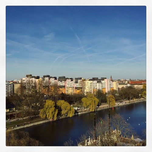Abstract Architecture Architecture_collection Berlin Photography Berliner Ansichten Berlinsky Berlinstagram Blue Building Exterior City Cityscape Day Kreuzberg Minimal Nature No People Outdoors Panorama Panoramic River River View Sky Spree Tree Urbanhafen