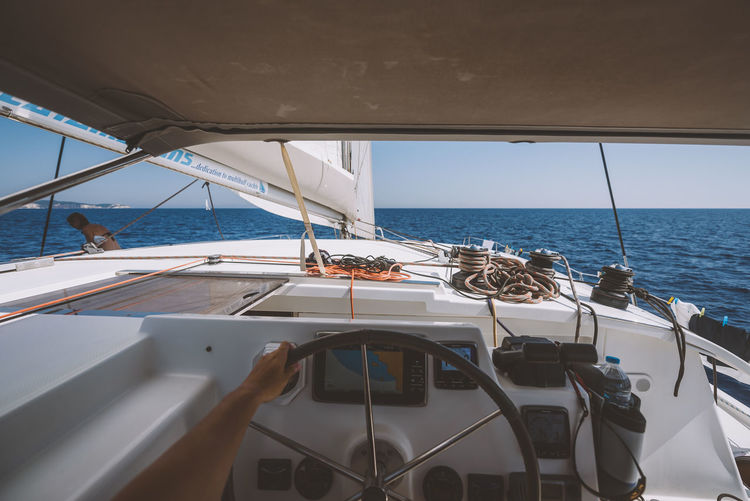 Lost In The Landscape Beauty In Nature Boat Deck Day Horizon Over Water Mode Of Transport Nature Nautical Vessel No People Outdoors Sailing Sea Sky Transportation Water Yacht Yachting