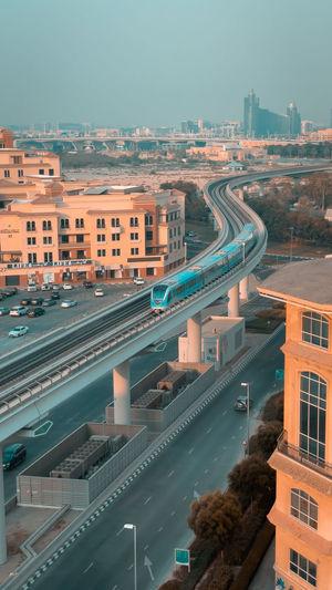 Dubai city and the metro line
