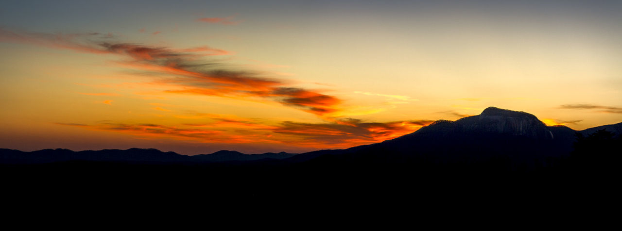 Beauty In Nature Calm Cloud - Sky Dramatic Sky Mountain Mountain Peak Mountain Range Mountain Silhouette Nature No People Orange Sky Outdoors Panoramic Photography Scenics Serenity Silhouette Sky South Carolina Still Sunset Table Rock