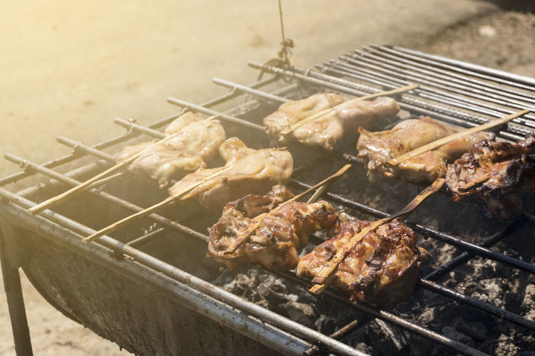Chicken Grilled Chicken Barbecue Barbecue Grill Day Dinner Focus On Foreground Food Food And Drink Freshness Grilled Healthy Eating Heat - Temperature High Angle View Kebab Meat Metal No People Outdoors Preparation  Preparing Food Skewer Smoke - Physical Structure Temptation White Meat