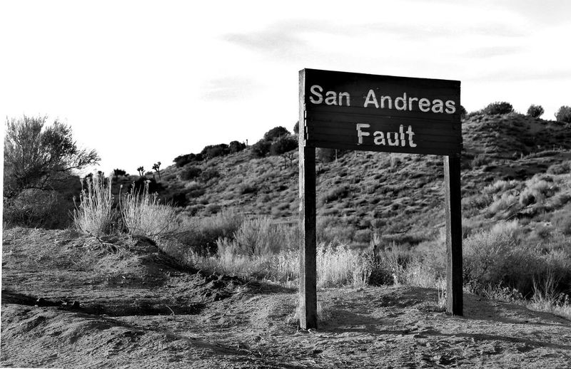 San Andreas Fault Black And White Day Famous Places Landscape Nature No People Outdoors Pearblossom, Ca