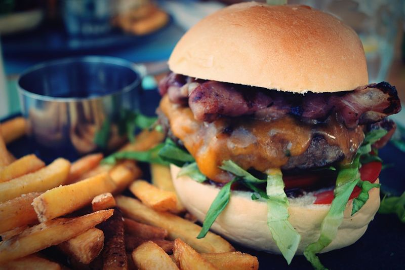 🍔 Food And Drink Burger Hamburger Ready-to-eat Food Unhealthy Eating Indoors  Close-up Focus On Foreground Freshness No People Plate Bun Fast Food Day
