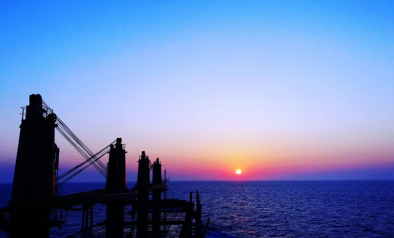 Sunset in the Yellow Sea Sea Sunset Horizon Over Water Sky Water Scenics Sun Beautiful View Sailor Vessel Ship Seaman