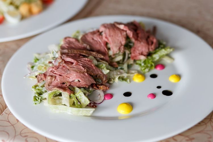 salad with beef and decorations Beef Close-up Day Food Food And Drink Freshness Healthy Eating Indoors  Lunch Lunch Time! Meat Meat! Meat! Meat! No People Plate Ready-to-eat Salad Serving Size Table Tasty