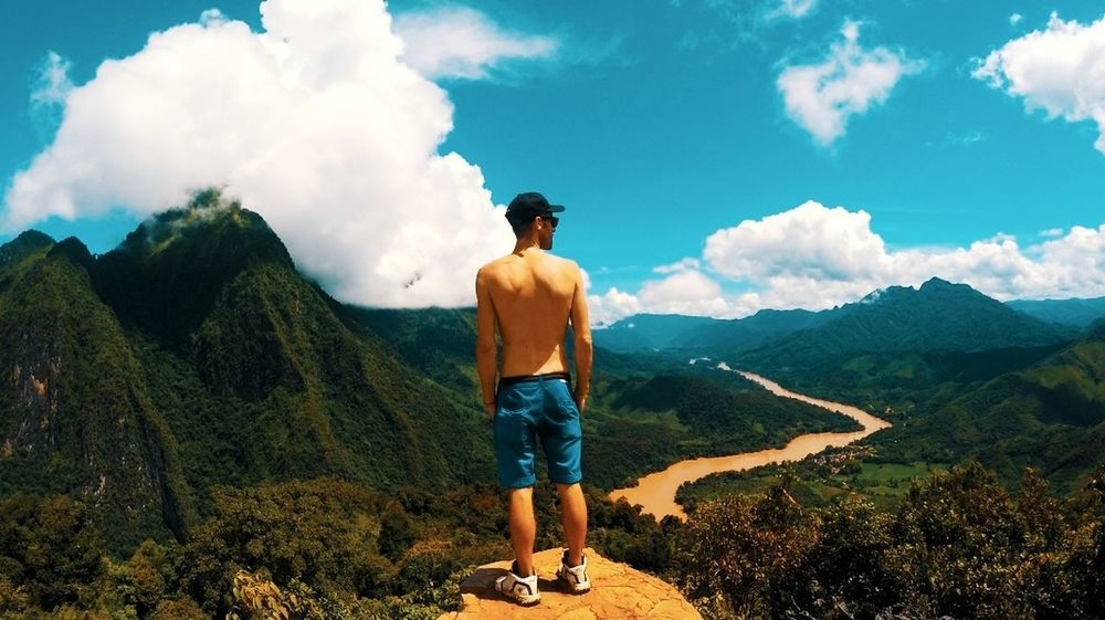 Landscape Only Men One Man Only One Person Cloud - Sky Adult Mountain Adults Only People Men Adventure Sky Nature Standing Outdoors Full Length Vacations Real People Day Beauty In Nature Muscular Build Southeastasia Backpack Backpacking Travel Photography