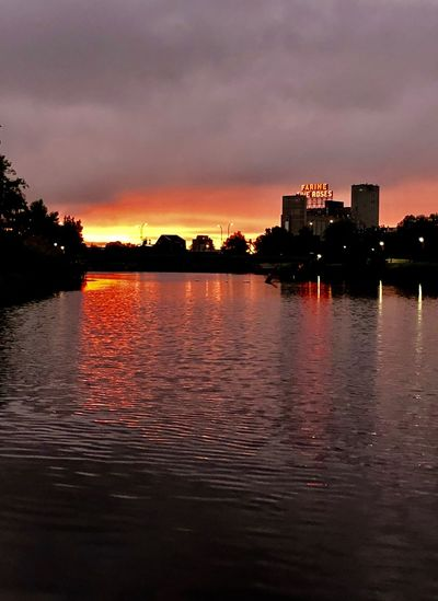 Farine Five Roses Farine Bakery Sunrise Sky Water Cloud - Sky Sunset Architecture Building Exterior Built Structure Reflection Waterfront Nature City Building No People Outdoors Beauty In Nature Orange Color