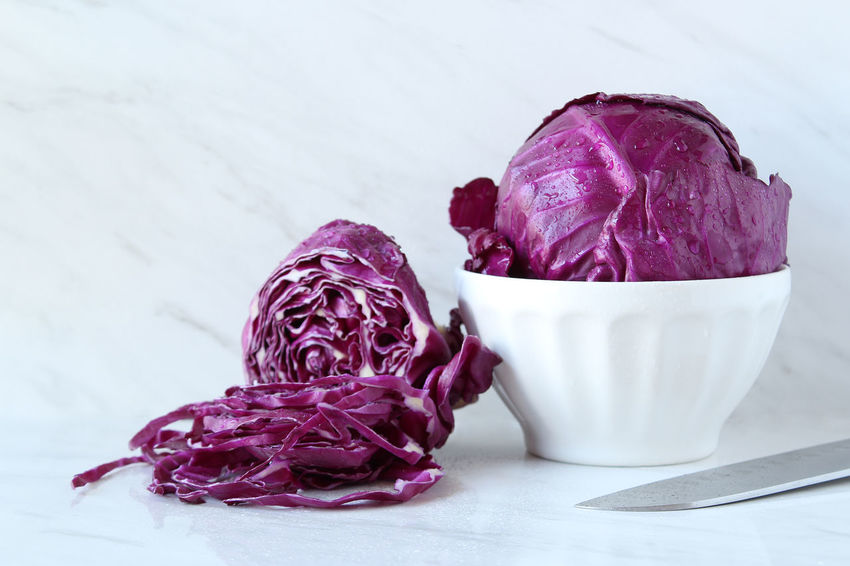 Red cabbage Red Cabbage Cole Slaw Sliced Bowl Knife Purple White Background Copy Space Preparation  Marble Kitchen Counter Food And Drink Freshness Still Life Healthy Eating Vegetable Cabbage Focus On Foreground Wellbeing Raw Food Close-up Vibrant Color Bright