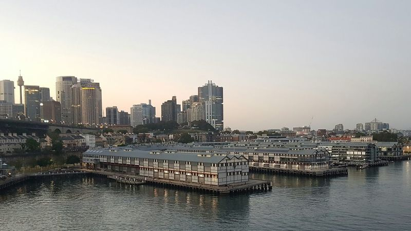 Reflection Water Outdoors Transportation Building Exterior No People Urban Skyline Sky City Architecture Sunset Nautical Vessel Illuminated Nature Cityscape Day cruise ship Sydney Harbour Finger Wharf sunrise morning