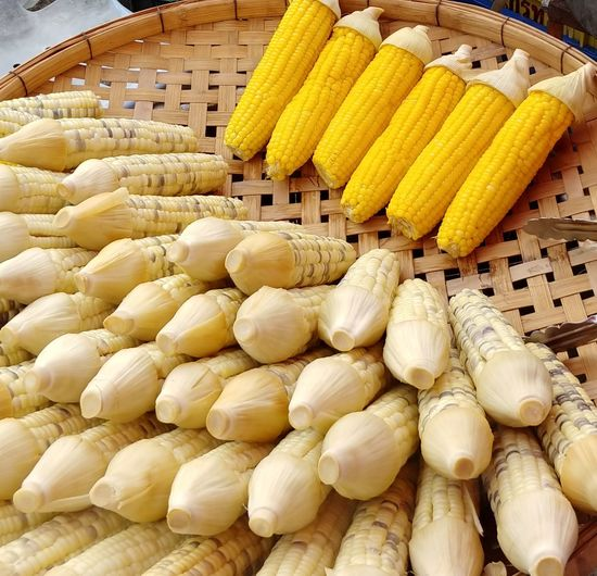 Market Basket Close-up Food And Drink For Sale Farmer Market Display Sweetcorn Market Stall Street Market Raw Corn On The Cob