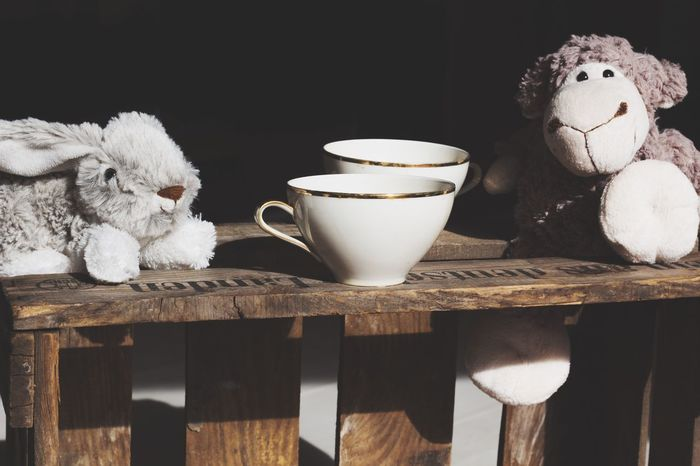 Coffee Cup Stuffed Toy Coffee - Drink Cup Table Close-up Childhood Retro Styled Wooden Coffee ☕ Coffee Time Coffee Break Coffee Tea Cup Sheep Bunny  Tea Cuddly Toy Stuffed Toy