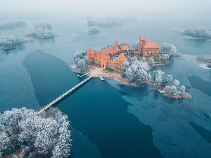 Trakai, Lithuania. Winter season, aerial view Drone  Aerial View Frost Winter Wonderland Galve Lake Trakai Island Castle Trakai Castle Mavic Pro Mavic Winter Sea Water High Angle View Scenics Beauty In Nature Nature No People Outdoors Waterfront Day Built Structure Architecture Horizon Over Water Sky Fresh On Market 2018