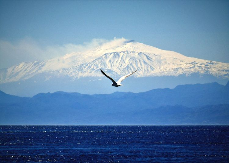 Flying towards the volcano..