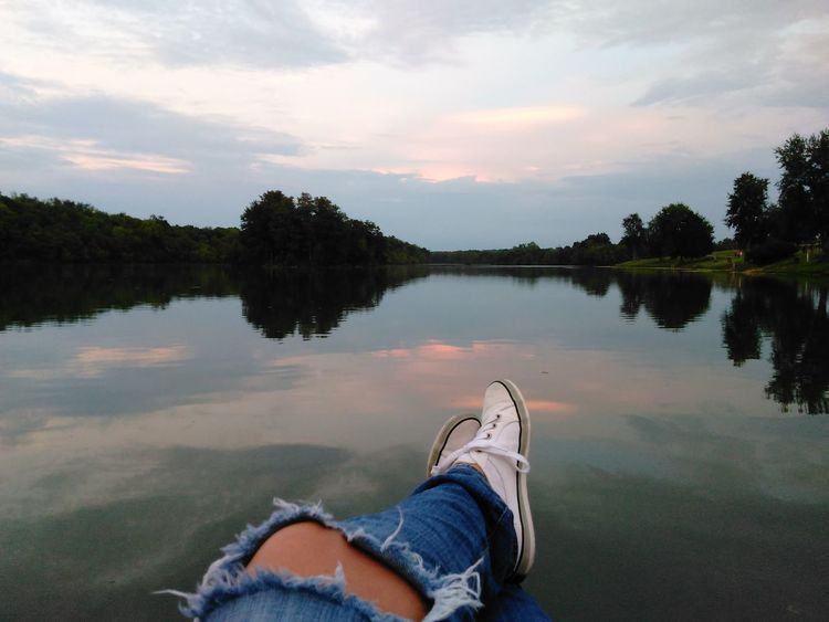 Human Leg Water Lake Human Body Part Limb One Person Personal Perspective Human Foot Shoe Adult Cloud - Sky Relaxation Nature Scenics Ripped Jeans