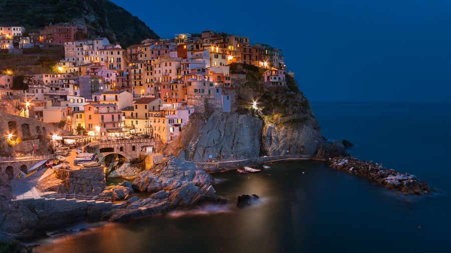 Manarola...Cinque Terre... Blue Hour Cinque Terre Travel Architecture Building Building Exterior History Italy Nature No People Outdoors Residential District Sea TOWNSCAPE Travel Destinations Water HUAWEI Photo Award: After Dark