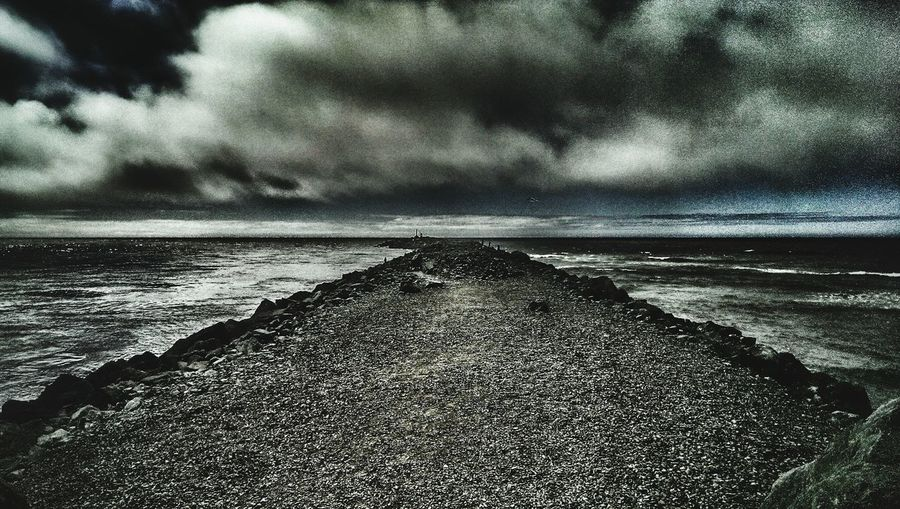 Barview Jetty Oregon Coast Pacific Ocean Pacific Northwest  Dark Skies Dark Tides