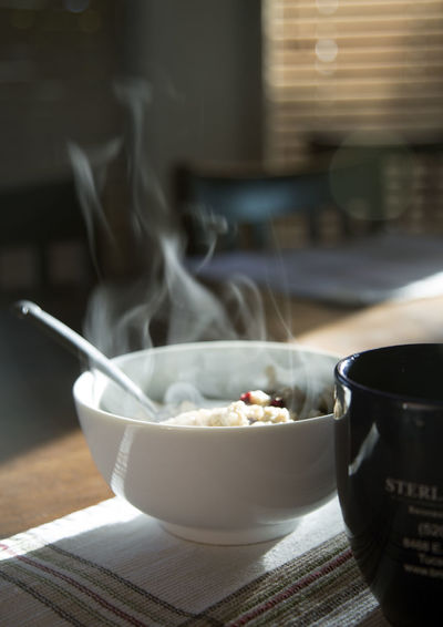 Smoke Emitting From Meal Served On Table