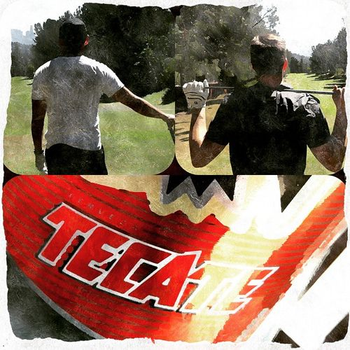 Nothing beats a nice cold Cerveza after hitting the Links . Golf Callaway tecate griffithpark nikegolf fore bogey @markmercury