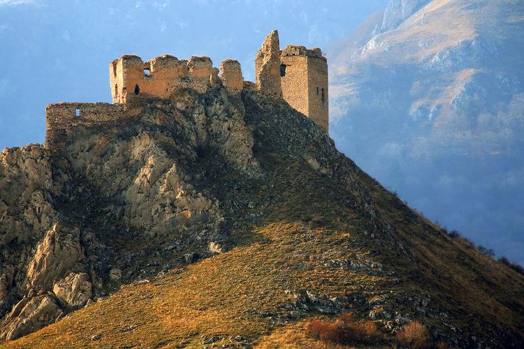 Castle on carpathian mountain at transylvania