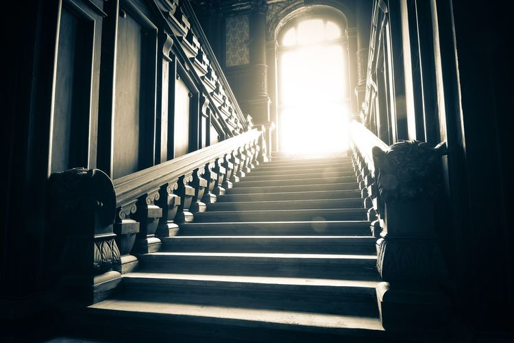 Sunlight Falling On Steps In Historic Building
