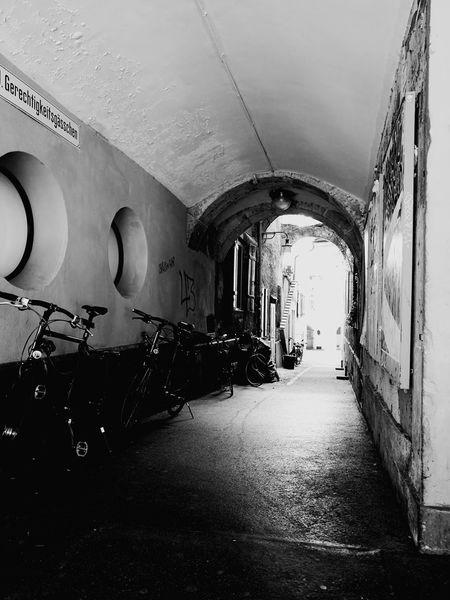 Bern Old City Switzerland Swiss Stone Wall Alley Old Alley Old Alleyways Stone Bycicle Bike Bikes Stone Buildings Stone Built Blackandwhite Black And White Black & White Welcome To Black The Street Photographer - 2017 EyeEm Awards