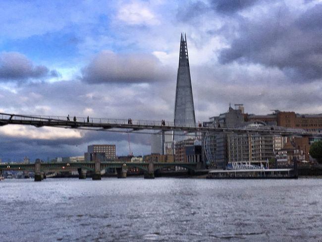 Needle ... The Shard piercing cotton candy Clouds And Sky LONDON❤ River Thames Architecture Millenium Bridge