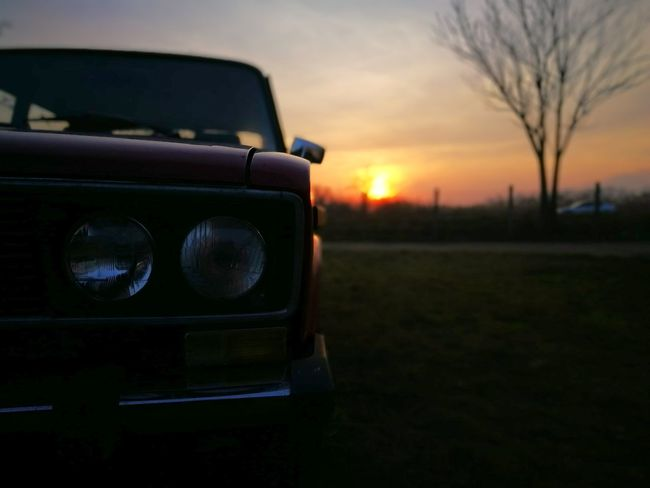 Vaz LADA Zhiguli Oldcars Russian Car HuaweiP9 Huawei P9 Leica Tree Outdoors Sky Day Sunset Land Vehicle Car Transportation No People Nature Close-up Grass