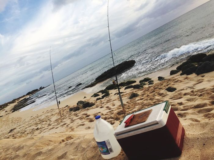 Set up Sea Beach Water Sand Nature Shore Sky Scenics Horizon Over Water Outdoors Beauty In Nature Nautical Vessel Day Coastline No People fishing pole