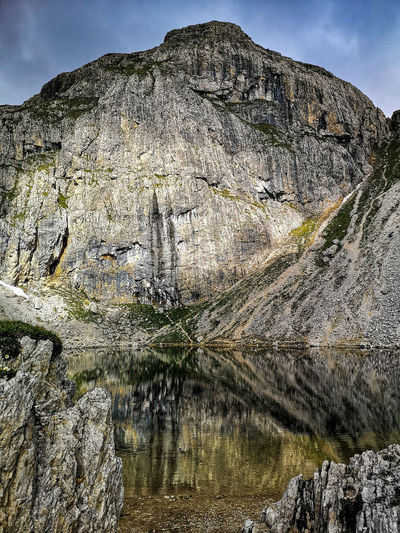 Lago boé at the sella group in the dolomites in spring