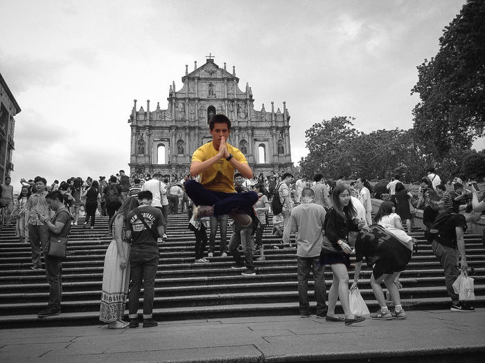 Macau Holiday Chw2004 Meditation & Levitation Levitation Photography Black & White The Action Photographer - 2015 EyeEm Awards Ruins Of St.Paul's - Thanks to my friend I went to the main places in only one day. Next visit will be for the Casinos. Capturing Freedom