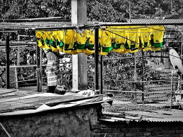 2014 India Mumbai Travel Backpack Colorplay Day Outdoors Wash Yellow