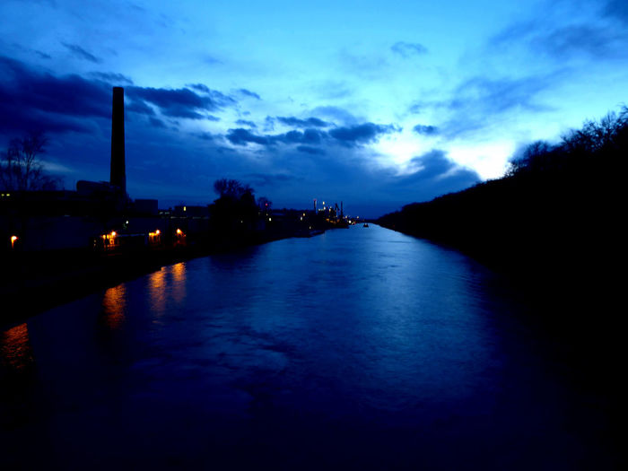 Binnenschiffahrt For My Friends 😍😘🎁 Illuminated Nighshot Reflection Transportation Water Waterfront Waterreflections  Tranquil Scene Cloud - Sky View From A Bridge It Feels Good Near Water Evening At The Mittellandkanal Hannover Lightning Light Up Your Life Waterreflections