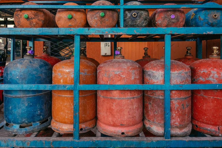 Full frame shot of gas cylinders in truck