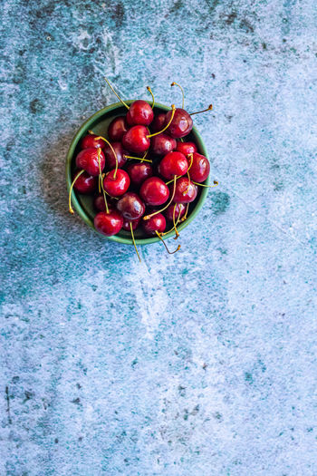 High angle view of cherries in bowl