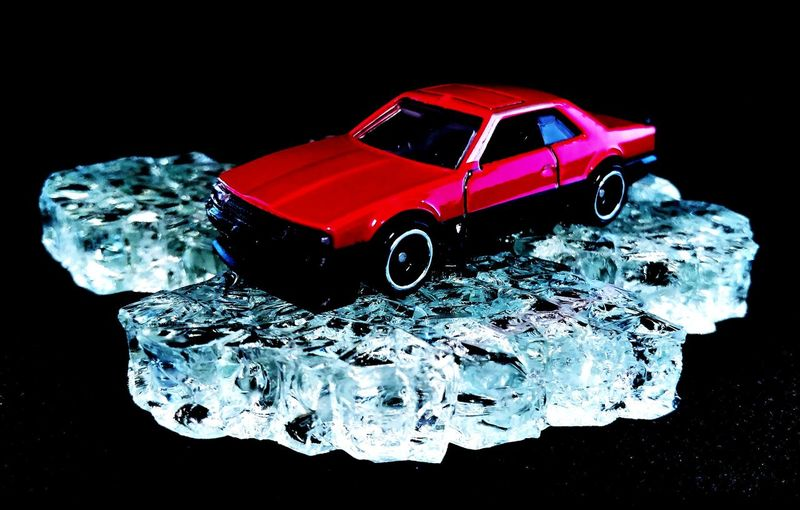 ice ice baby Iceberg P4lsoe Diecastphotography Diecast Diecastcars Hotwheelscollector Hotwheelsphotography HotWheels Skyline Nissan Skyline Black Background Red Water Car Close-up