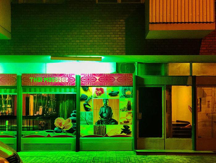 Multi colored illuminated restaurant