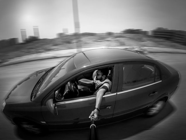 Crusing Black & White Blackandwhite Cairo Car Crusing Day Egypt Gopro Gopro Session Monochrome One Person Opel Outdoors Selfie Sky Transportation