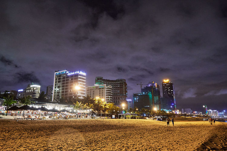 Nightphotography Vietnam Architecture Beach Building Exterior Built Structure City Cityscape Cloud - Sky Danangbeach Illuminated Nature Night No People Outdoors Sand Sky Skyscraper